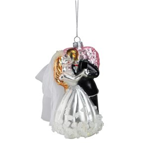 Northlight Bride and Groom Kissing Glass Wedding Christmas Ornament - 5.25-in