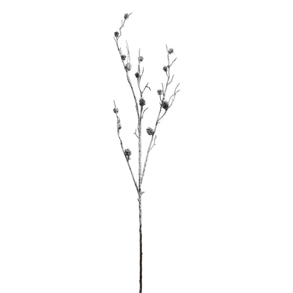 Northlight 42-in White and Brown Sparkling Frosted Pine Cone Twig Branch