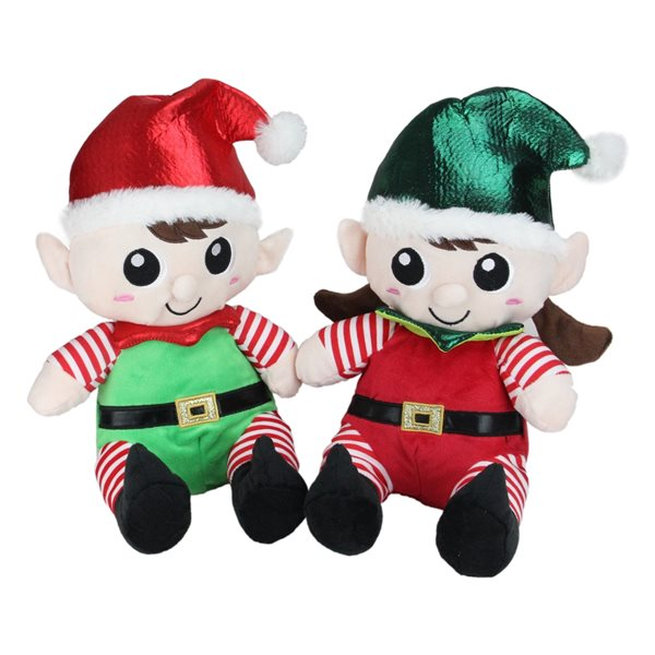 Northlight Set of 2 Red 13-in Red Plush Sitting Boy and Girl Elf Christmas Tabletop Decoration