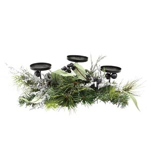 Northlight Mixed Pine with Blueberries Christmas Candle Holder Centrepiece - 22-in - Green and Silver