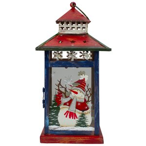 Northlight Snowman Christmas Lantern 12.75-in - Red, White and Black