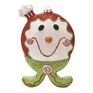 Northlight Glittered Shatterproof Gingerbread Boy Christmas Ornament - 9-in - Red and Green