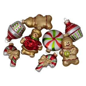 Northlight Gingerbread Men Christmas Ornaments - 3-in - Gold and Red - 8 Piece