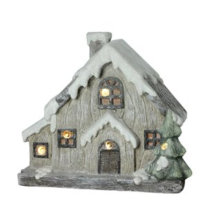 Northlight Gray and White 12-in Battery Operated LED Lighted Christmas House Tabletop Decoration