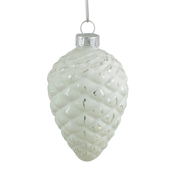 Northlight Matte Pine Cone Glass Christmas Ornaments 3-in - White and Silver - 4 Piece