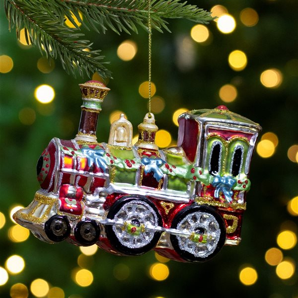Northlight Contemporary Train Christmas Ornament - 5.5-in - Red and Green