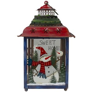 Northlight Snowman Christmas Candle Lantern 15-in - Red, Green and Blue