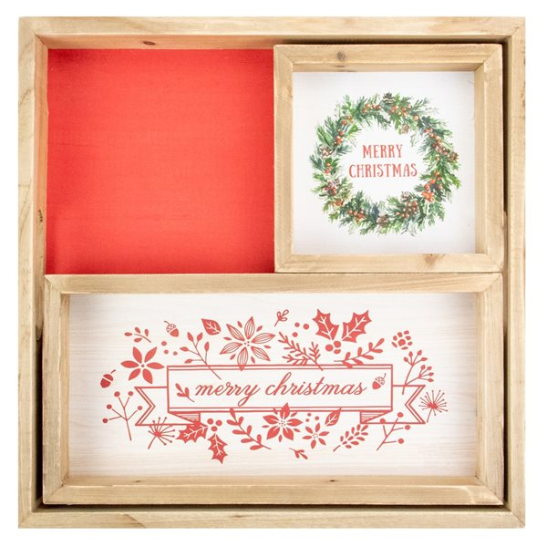 Northlight Set of 3 Merry Christmas Wood Plaques and Serving Tray with Handles