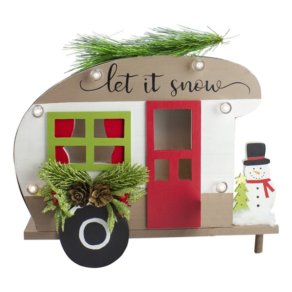 """Northlight White 12-in Battery Operated 3D RV """"Let It Snow"""" Christmas Tabletop Decoration"""