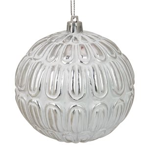 Northlight Distressed Geometric Christmas Ball Ornament - 4-in - White and Silver