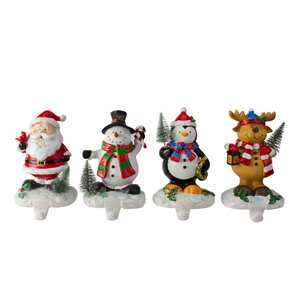 Northlight Santa  Snowman  Penguin and Reindeer Christmas Stocking Holders 5.75-in - Set of 4
