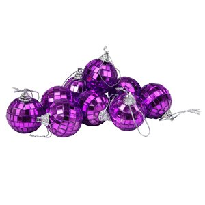 Northlight Shining Contemporary Christmas Ball Ornaments - 1.5-in - Purple - 9 Piece
