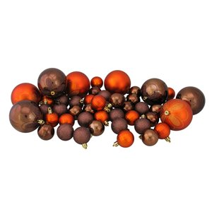 Northlight Shatterproof 4-Finish Christmas Ornaments - Chocolate Brown and Burnt Orage - 125 Piece