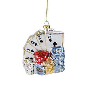 Northlight Cards with Dice and Chips Poker Christmas Ornament - 4-in - Silver and Blue