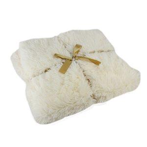 Northlight 50-in x 60-in Cream White Plush Decorative Rectangular Throw Blanket