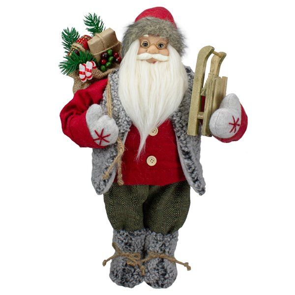 Northlight Red 18-in Santa Figure Carrying Presents and Sled Tabletop decoration