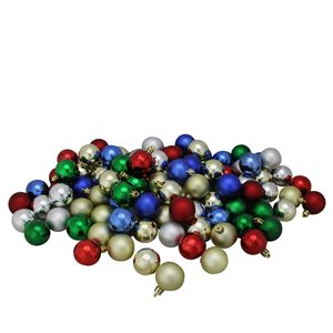 Northlight Vibrantly Coloured Shatterproof 4-Finish Christmas Ball Ornaments - 1.5-in - 96 Piece