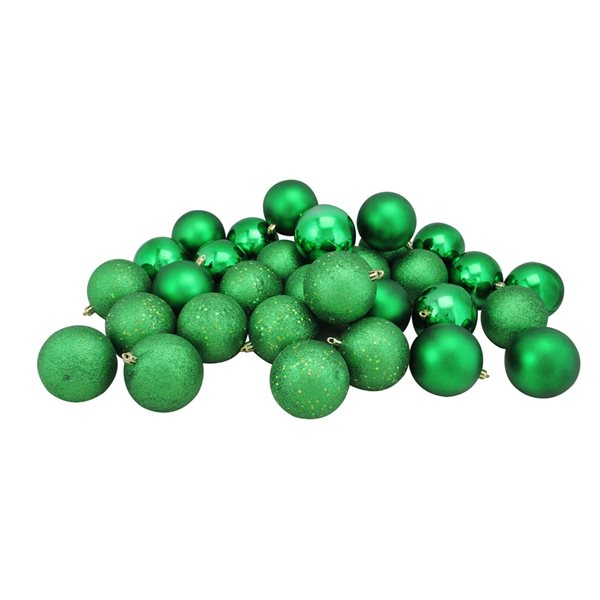 Northlight Shatterproof 4-Finish Christmas Ball Ornaments - 3.25-in - Green - 32 Piece