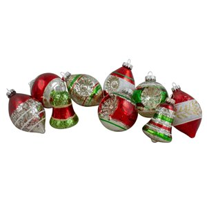 Northlight 2-Finish Glass Christmas Finial Ornaments 3.25-in - Silver and Red - 9 Piece