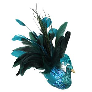 Northlight Peacock Clip-On Christmas Ornament - 10-in - Turquoise, Blue and Green