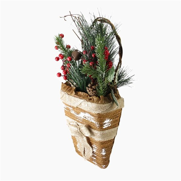 Northlight 13.5-in Brown and Green Frosted Pine Needles and Cones Christmas Basket