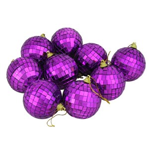 Northlight Mirrored Glass Disco Ball Christmas Ornaments 2.5-in - Purple - 9 Piece