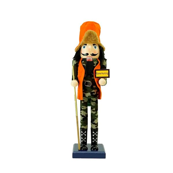 "Northlight Orange and Green 15-in ""Gone Hunting"" Nutcracker in Fatigues Christmas Tabletop Decoration"