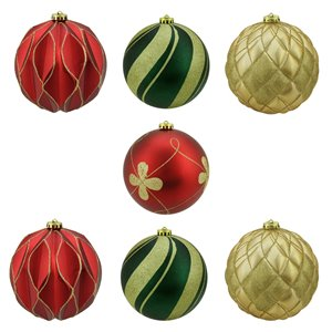Northlight Shatterproof 3-Finish Christmas Ball Ornaments - 6-in - Red and Green - 7 Piece