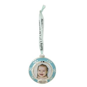 """Northlight """"Baby's First Christmas"""" Framed Ornament with Crystals - 3-in - Blue and Silver"""