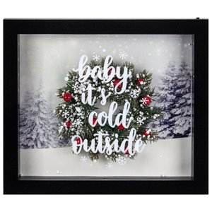 "Northlight 14-in Black Framed 3D ""Baby It's Cold Outside"" Christmas LED Decor Box Wall Art"