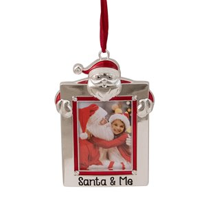 """Northlight """"Santa and Me"""" Photo Frame Christmas Ornament with Crystals - 3.5-in - Silver"""