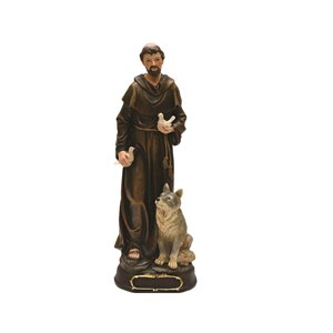 Northlight Bronze 12-in St. Anthony of Prague with Wolf and Dove Tabletop Decoration