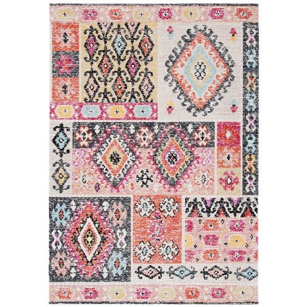 Tapis décoratif rectangulaire Montage de Safavieh, fait à la machine, 7,5 pi x 5,1 pi, rouge et rose pâle