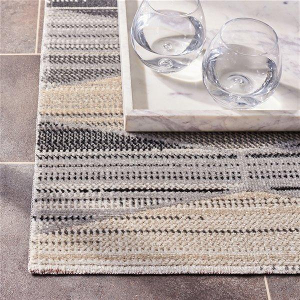 Tapis décoratif rectangulaire Montage de Safavieh, fait à la machine, 6 pi x 4 pi, gris pâle et gris foncé