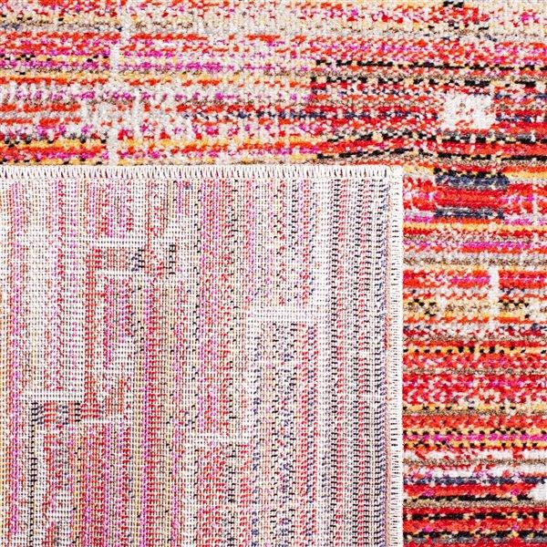 Tapis décoratif rectangulaire Montage de Safavieh, fait à la machine, 6 pi x 4 pi, rouge et ivoire