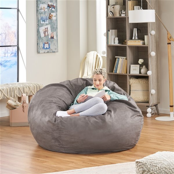 Best Selling Home Décor Orla 5 Ft Suede Bean Bag Chair, Charcoal