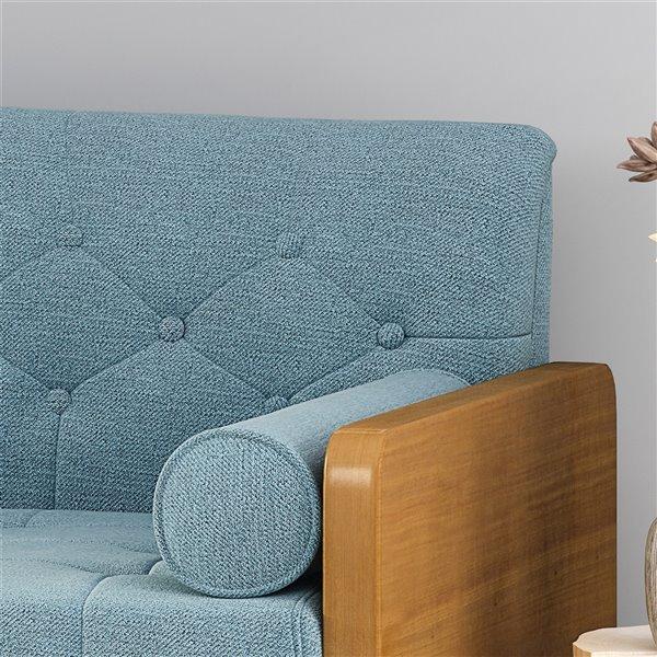 Best Selling Home Décor Jalon Midcentury ufted Fabric Sofa, Blue