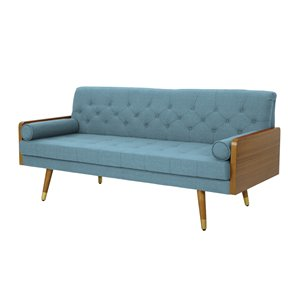 Best Selling Home Décor Jalon Midcentury ufted Fabric Sofa, Blue