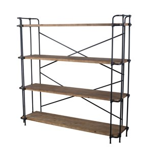 Best Selling Home Décor Yorktown Antique Brown, Blue and Black Metal 4-Shelf Standard Bookcase