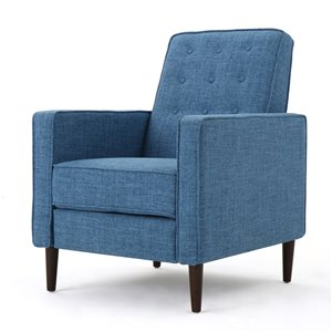Best Selling Home Décor Mervynn Mid Century Modern Muted Fabric Non-Swivel Recliner, Blue