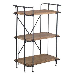 Best Selling Home Décor Yana Antique Brown, Blue and Black Metal 3-Shelf Standard Bookcase
