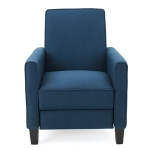 Best Selling Home Décor Darvis Fabric Non-Swivel Recliner Club Chair, Dark Blue