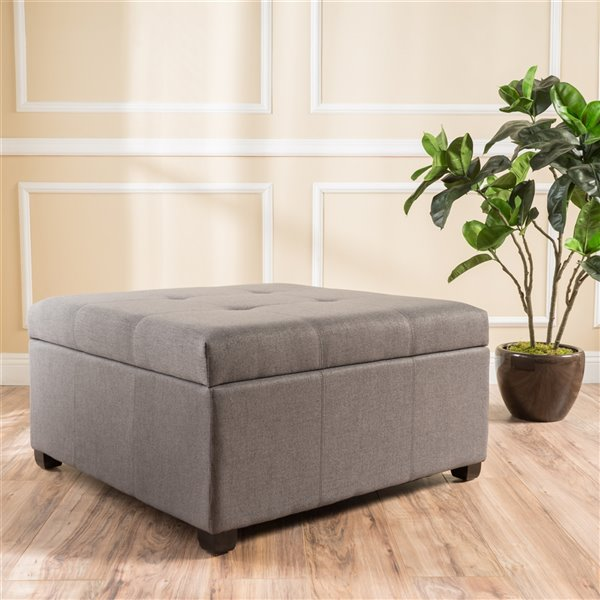 Best Selling Home Décor Carlsbad Dark Grey Fabric Square Storage Ottoman