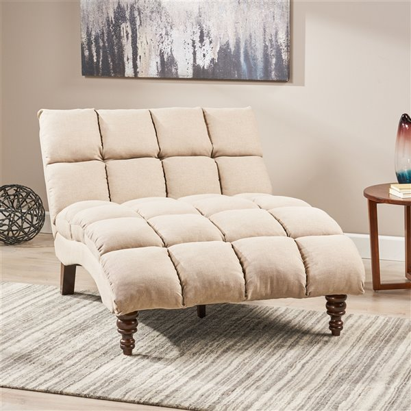 Best Selling Home Décor Kaniel Traditional Tufted Fabric Double Chaise, Wheat