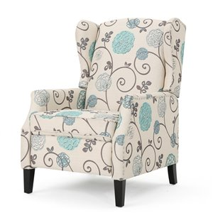 Best Selling Home Décor Wescott Traditional White and Blue Floral Patterned Fabric Non-Swivel Recliner