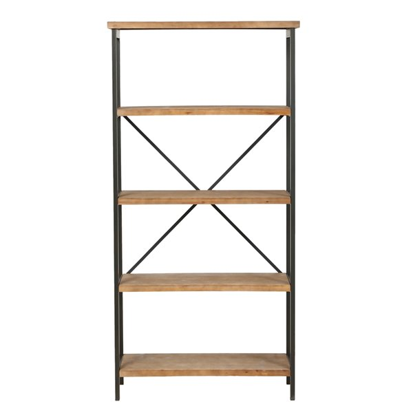 Best Selling Home Décor Winsten Antique Brown and Brushed Black Rust Metal 4-Shelf Standard Bookcase