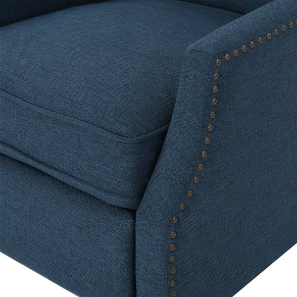 Best Selling Home Décor Wescott Traditional Fabric Non-Swivel Recliner, Navy Blue