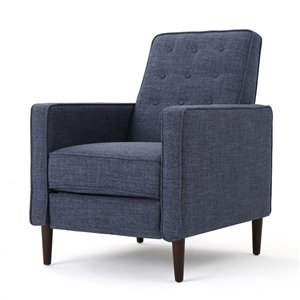 Best Selling Home Décor Mervynn Mid Century Modern Fabric Non-Swivel Recliner, Dark Blue