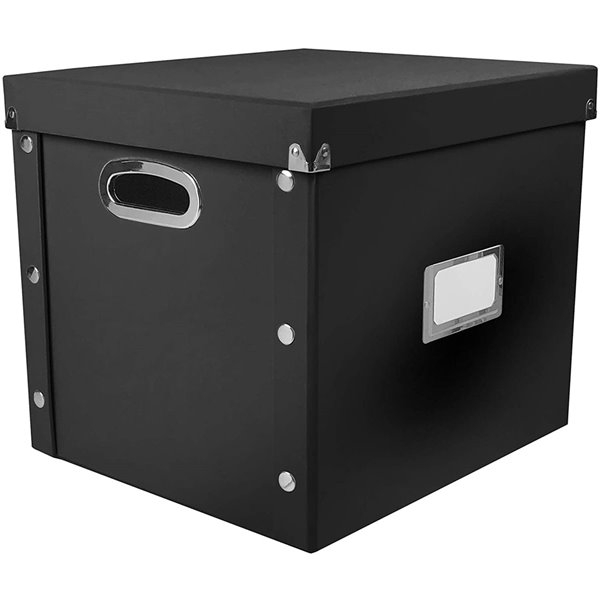 Snap-N-Store Vinyl Storage Record Box, 12.5-in W x 12.6-in H x 13.4-in D, Black Faux Leather (Each)