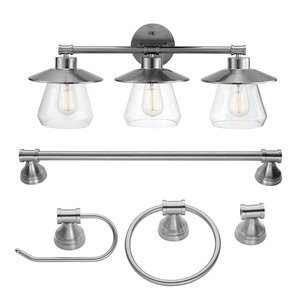 Globe Electric Nate 5-Piece All-In-One Bathroom Set - Brushed Steel